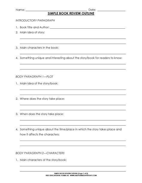 Basic Theme Outline by Free Simple 5 Paragraph Book Review Or Report Outline Form Book Review Outlines And Paragraph