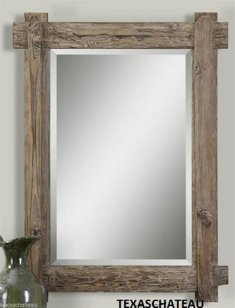 Beach House Bathroom Mirrors | driftwood style wall mirror nautical beach house cottage bath bathroo