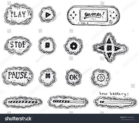 doodle users doodle ui icons elements illustration stock vector
