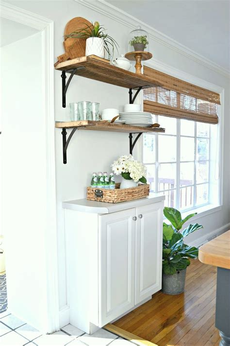 open shelves under cabinets diy barn wood shelves in the kitchen for under 50