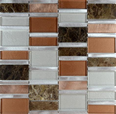 mosaic tile backsplash stainless steel glass metal