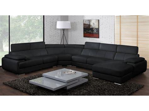 canape panoramique cuir canap 233 panoramique cuir 7 places elevanto noir ou blanc