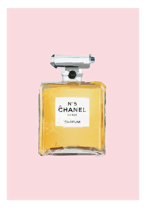 Parfum Chanel Pink coco chanel no 5 parfume bottle poster print painting gray or pink 21 00 via etsy