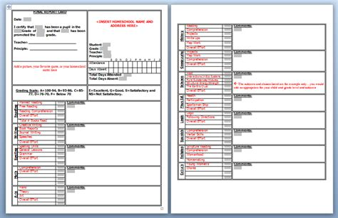 high school student report card template free class schedule template word