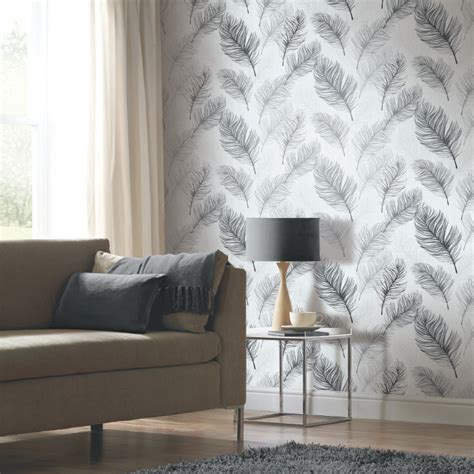 arthouse whisper feather wallpaper black and white