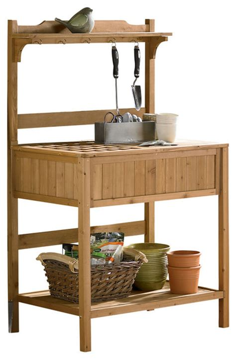 potting benches with storage potting bench with recessed storage transitional