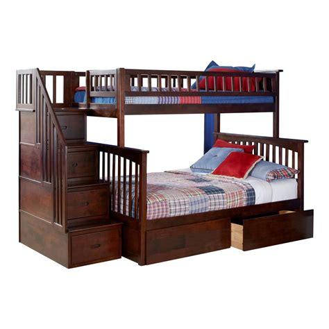 atlantic furniture columbia staircase walnut twin  full bunk bed   urban bed drawers