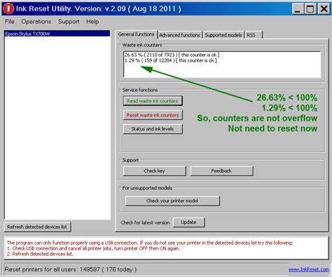reset epson printer password reset key for epson printers