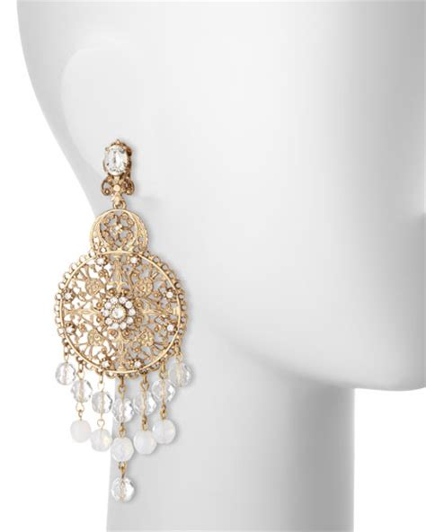 drop chandelier earrings oscar de la renta filigree disc drop chandelier earrings