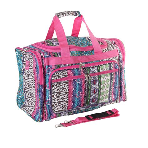 Patchwork Duffle Bag - 19 quot pink patchwork boho print carry duffle bag travel