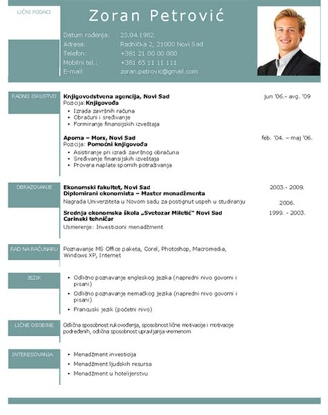 Curriculum Vitae Template Za by Resume Format Template Za Cv Na Srpskom