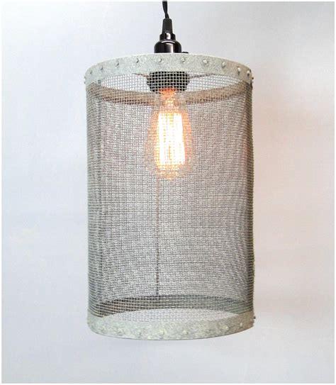 Barrel Light Fixtures by Mesh Wire Barrel Pendant Light Fixture Aged Galvanized