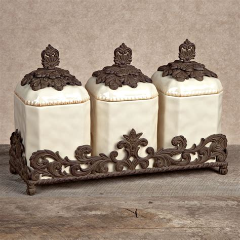 decorative kitchen canisters sets gg collection gracious goods 3 ceramic canister set with metal base