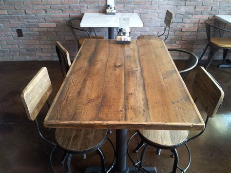 reclaimed wood restaurant tabletops traditional dining