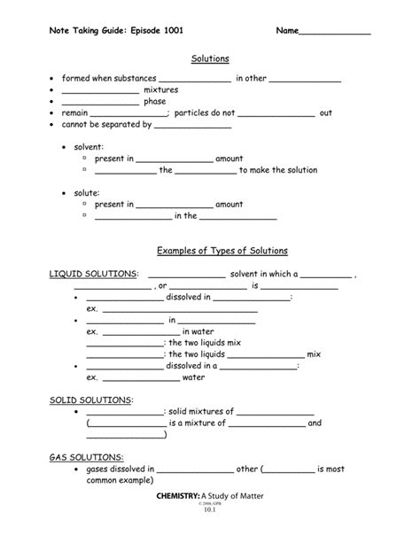 10 4 Changes Of State Section Review Answers by Chemistry A Study Of Matter Worksheet Answers Worksheets