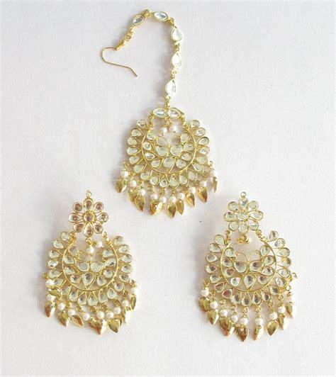 gold jadau kundan earrings tikka pipal patti set by