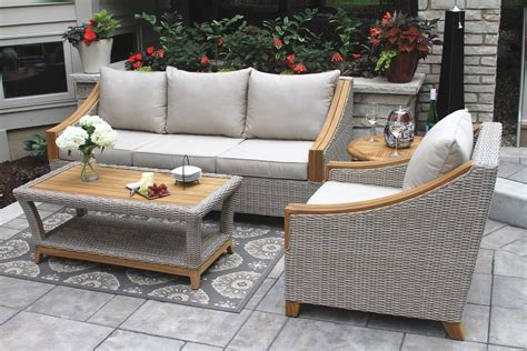 Outdoor Material For Patio Furniture Wicker Teak Wood Sofa With Sunbrella Cushions Pillows