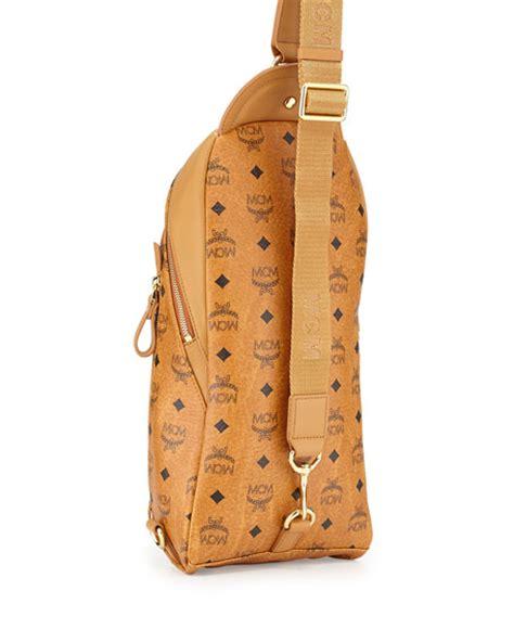 mcm mens monogram sling bag cognac