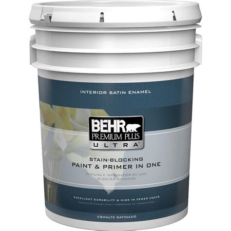 home depot 5 gallon interior paint behr premium plus ultra 5 gal medium base satin enamel