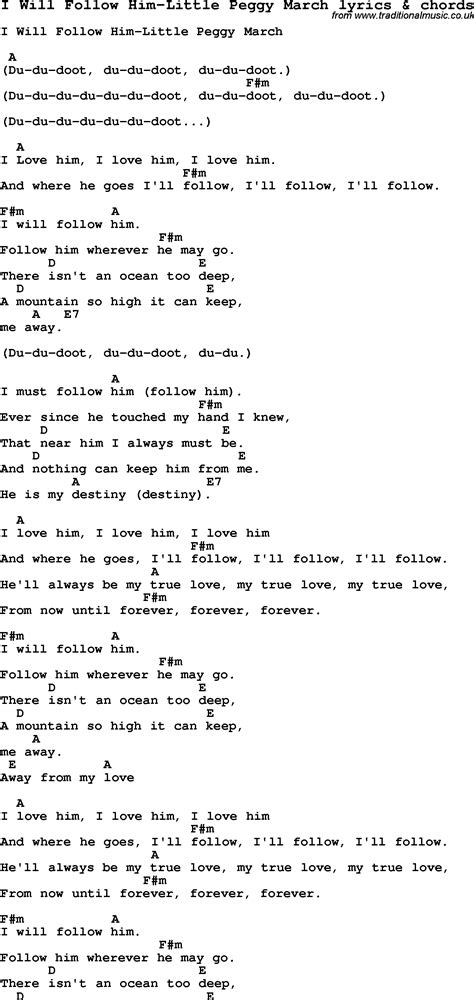 song for him song lyrics for i will follow him peggy march
