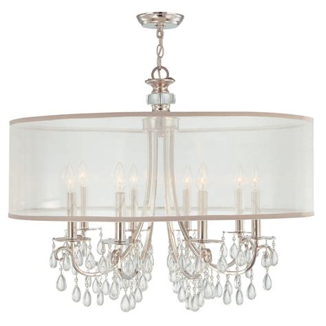 Chandelier Drum hton 8 light 32 quot polished chrome chandelier with silver drum shade