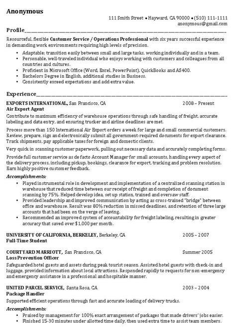 Sle Resume Profile Statement For Customer Service The Resume Professional Profile Exles Recentresumes