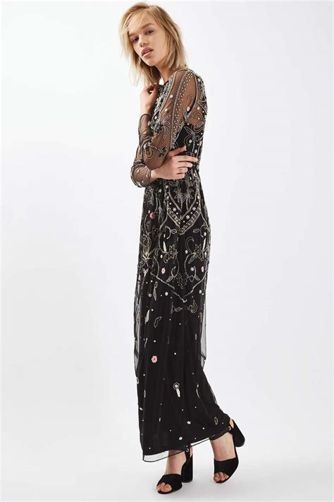 Embroidered Maxi Dress embroidered bead maxi dress topshop