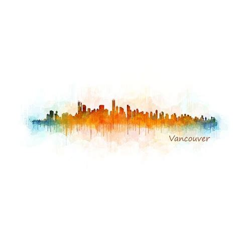 watercolor tattoo vancouver bc vancouver canad 193 skyline in digital watercolor