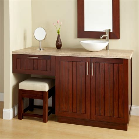 bathroom vanity with makeup 60 quot montara mahogany vessel sink vanity with makeup