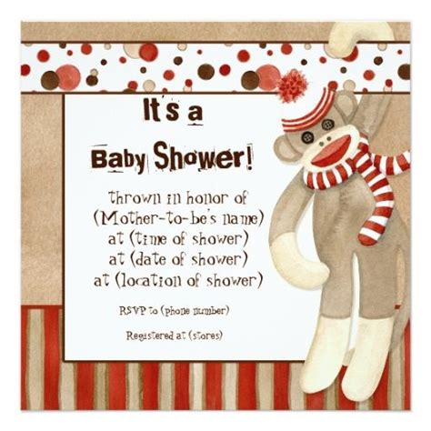 sock monkey baby shower invitation template 17 best images about sock monkey invitations on