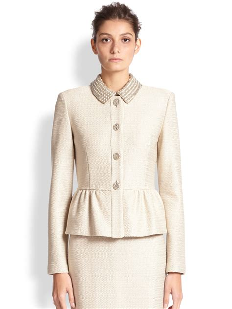 St Dress Jaket lyst st embellished peplum jacket in