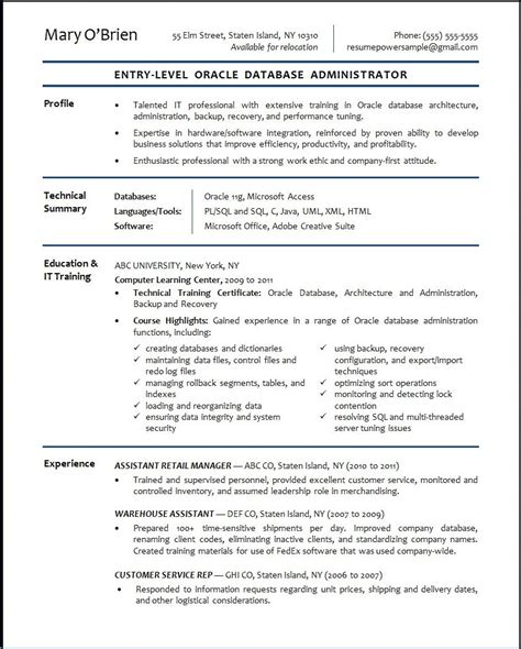 dba resume format oracle database administrator sle resume resumepower