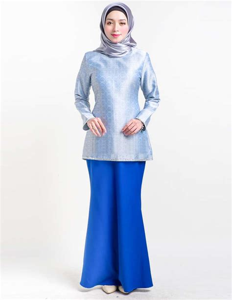 baju kurung moden servyna blue lovelysuri