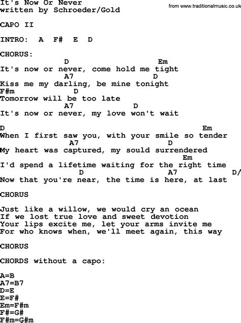 Or Lyrics It S Now Or Never By Elvis Lyrics And Chords