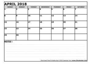 Calendar 2018 April Printable Blank April 2018 Calendar In Printable Format