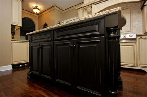 black glazed kitchen cabinets distressed black and cream cabinets kitchen love