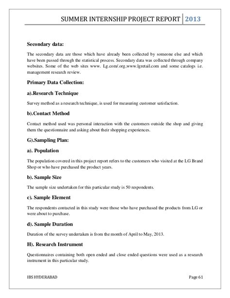 Mba Summer Internship Project Report by Mba Summer Internship Project Report