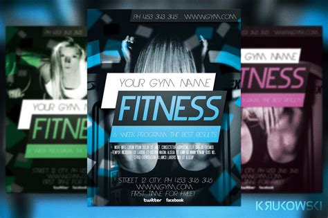 fitness flyer template flyer templates on creative market