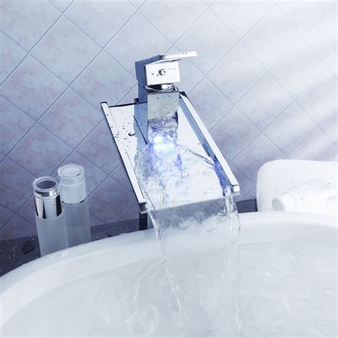 no battery led 3 color brass kitchen sink swivel spray 3 color no battery water tap led basin sink tap waterfall