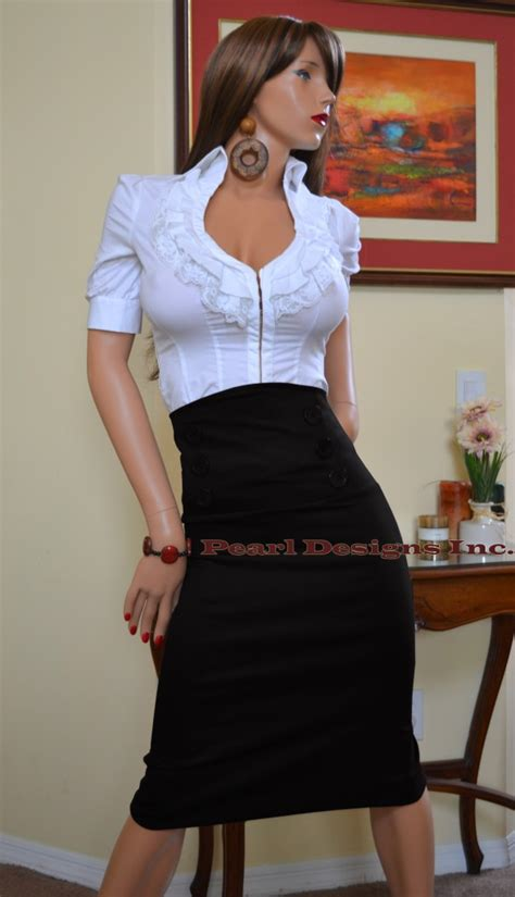 Highwaist Button Black Office Skirt s skirts new button high waist knee