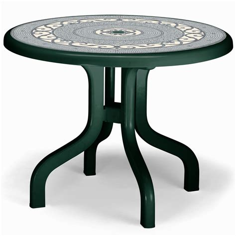 Plastic Patio Table Foldable Garden Table Outdoor Furniture White Green Mosaic Plastic Ebay