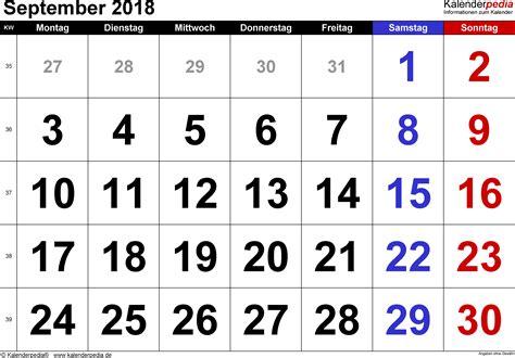 Kalender 2018 August Und September Kalender September 2018 Als Excel Vorlagen
