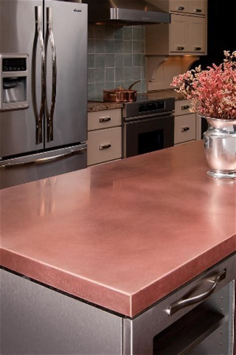 unusual countertop materials copper countertop by craft art dark brown hairs