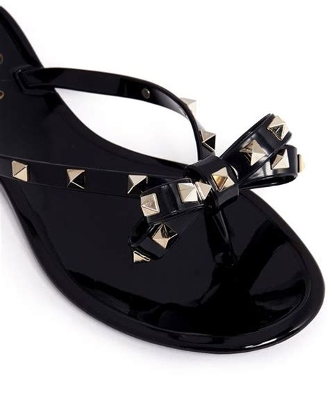 black bow flat sandals valentino studded bow flat jelly sandals in black lyst