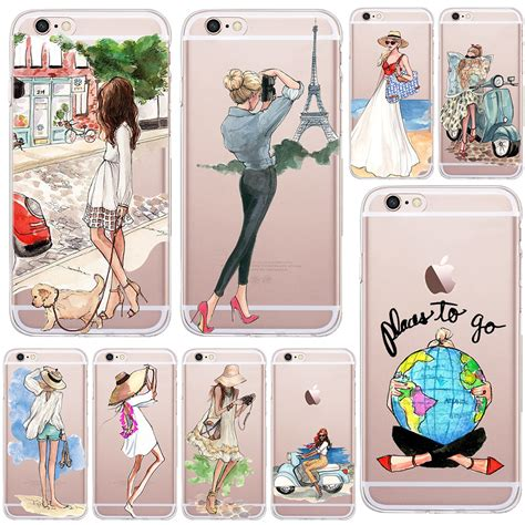 girl summer outing travel transparent soft silicone tpu case cover  apple iphone   se