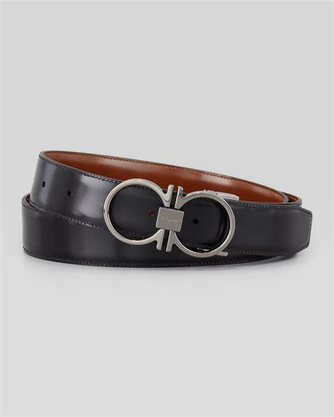 Ferragamo Leather ferragamo reversible gancini leather belt in brown lyst