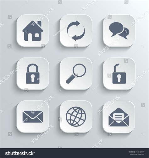 white house app web icons set vector white app stock vector 197870114
