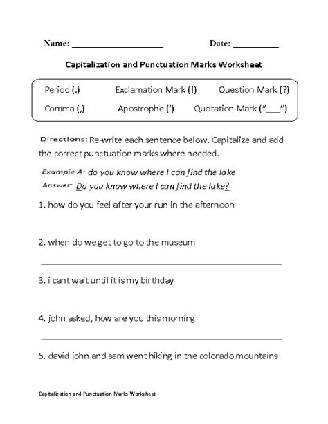 printable worksheets on capitalization and punctuation 16 best images of 1st grade capitalization and punctuation
