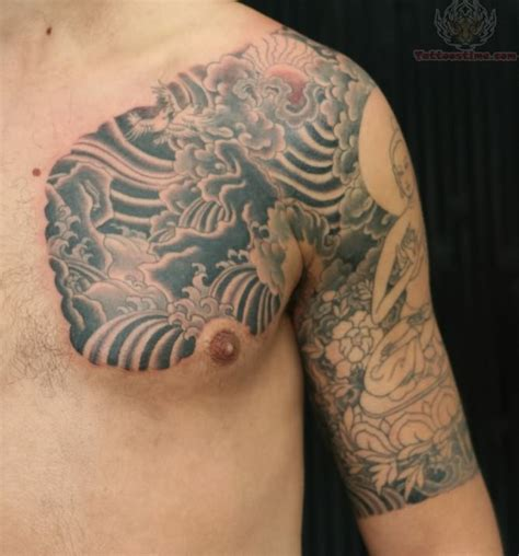 tribal chest and half sleeve tattoo tibetan images designs