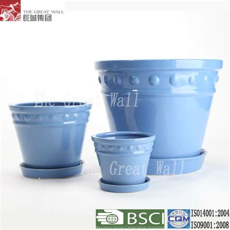 10 Inch Ceramic Flower Pots - 10 inch light blue ceramic flower pots with tray wholesale